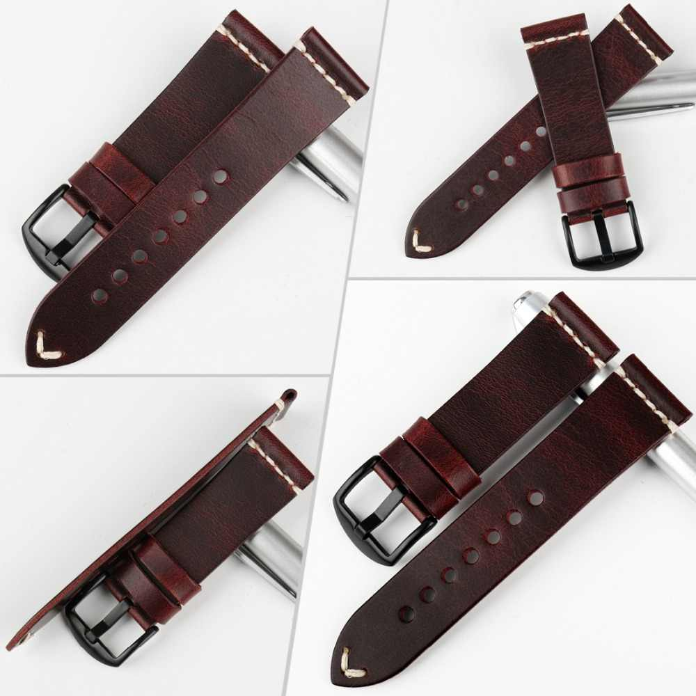 MAIKES Vintage Leather Strap Watch Band Greasedleather Watch Accessories Bracelet 20mm 22mm 24mm Fashion Red Watchband For Omega