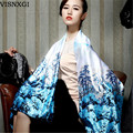 2017 New Floral Flower Women Fashion Satin Oil Painting Long Wrap Shawl Beach Silk Scarf 160X50cm Summer Bohemia Scarves J035