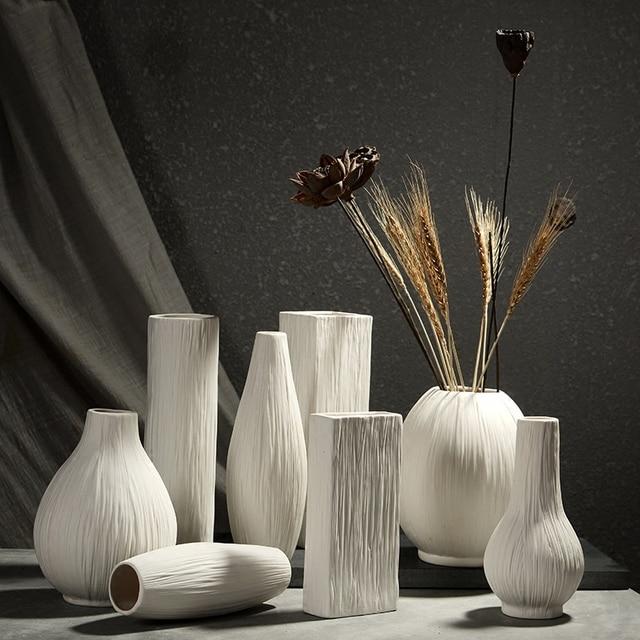 Charmant Ceramic Vase Tabletop Flower Vases Home Decorative Vases White Flower Pot  Planters Pure White Line Decor