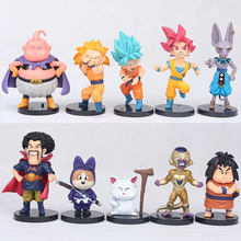 10pcs Dragon Ball 4 God and Goku Vegeta Destroy Birus Buu Anime Model Toy Decoration dolls model