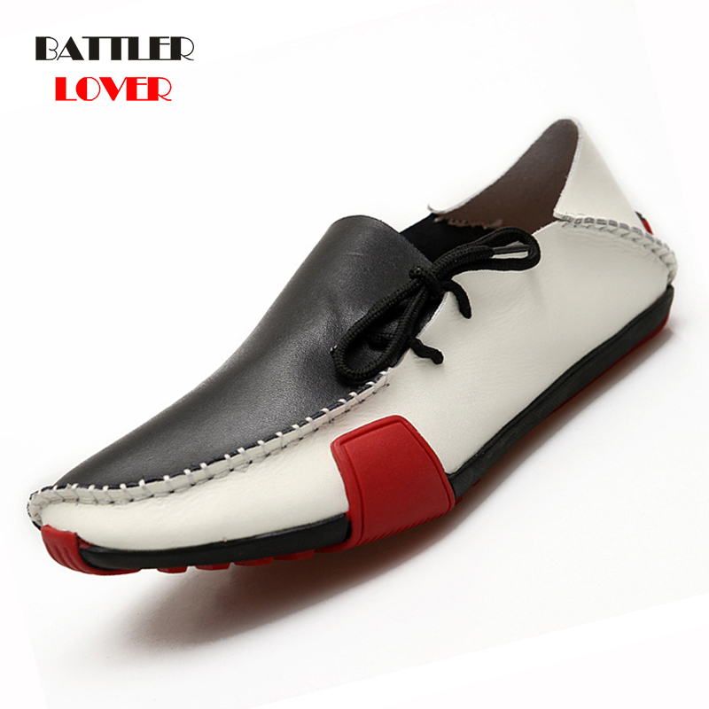 2019 New Fashion Men Driving Shoes Handmade Genuine Leather Mens Loafers Mocassins Spring Autumn Leisure Shoes Men Footwear Shoe