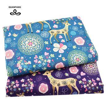 QUANFANG tela de lino de algodón impresa para Patchwork DIY costura para sofá paño de mesa muebles cubierta Material tejido medidor