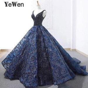 Image 2 - Sexy bleu Royal longue robe de soirée 2020 nouveauté Court Train perlé dentelle de noël Occasion spéciale robes de bal sur mesure