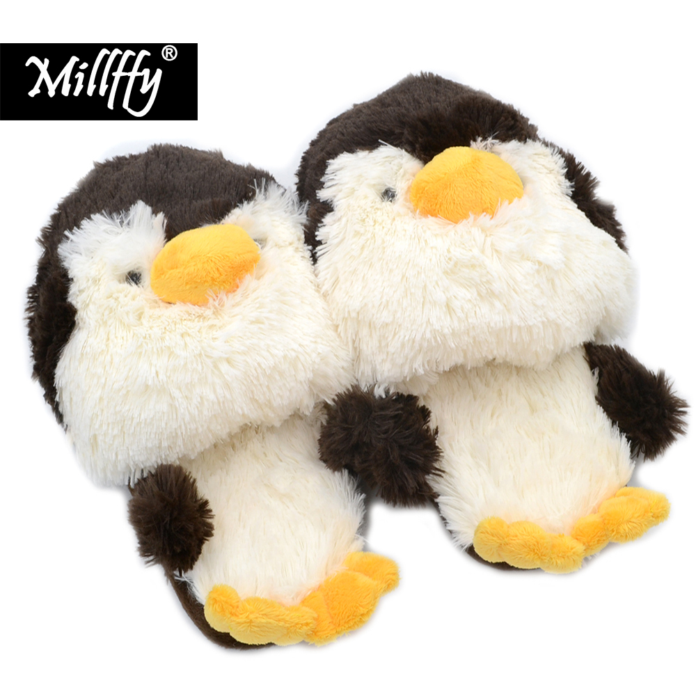 Millffy Winter Indoor Slippers Plush penguin Home Slippers shoes Unisex Women Slippers Stuffed duck Comfortable plush slippers millffy plush slippers squinting little sheep indoor household slippers lambs wool home couple slippers