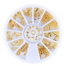 Gold Mix 3D DIY Jewelry Alloy Studs Design Metal Rivets Nail Art Decoration Tools mns527 1500pcs 6 style punk 3d metal nail art rhinestone alloy studs diy decoration spike stickers gold