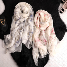 2019 silk scarf for women Dragonfly Peach blossom print silk scarves shawls and wraps lady pashmina foulard bandana hijabs scarf chic flags and newspaper print soft bandana scarf for women