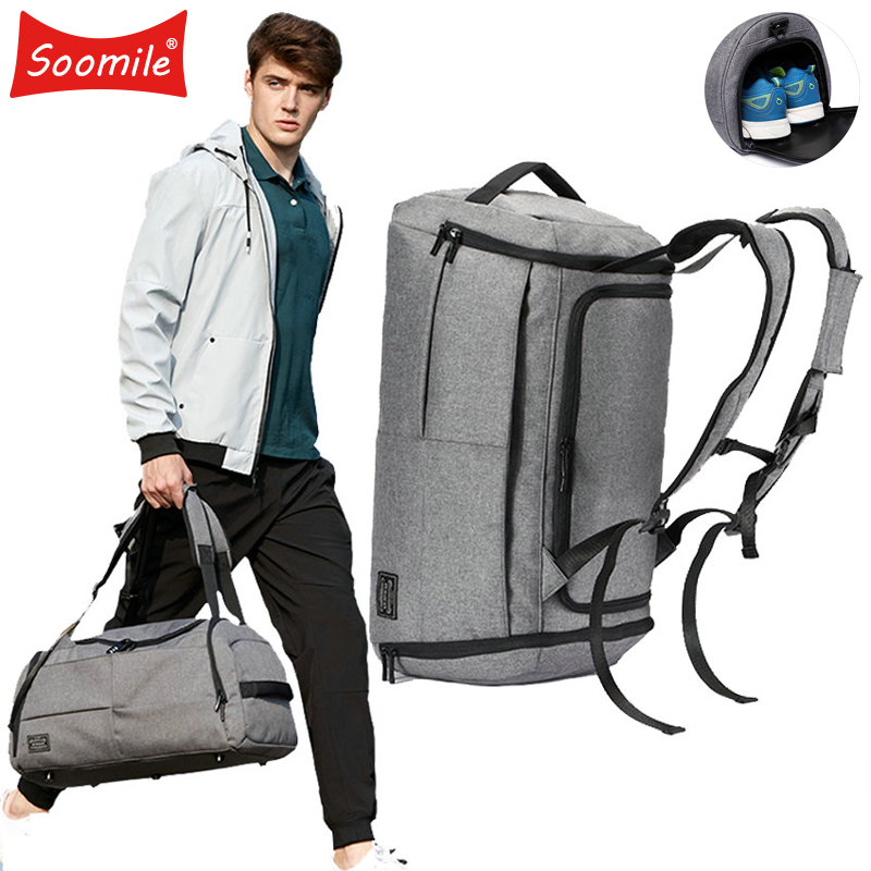 35L Men Multifunction Travel Bag 2018 Cabin Luggage Men Travel Bags Large Capacity black gray Backpack Canvas Casual Duffle Bag
