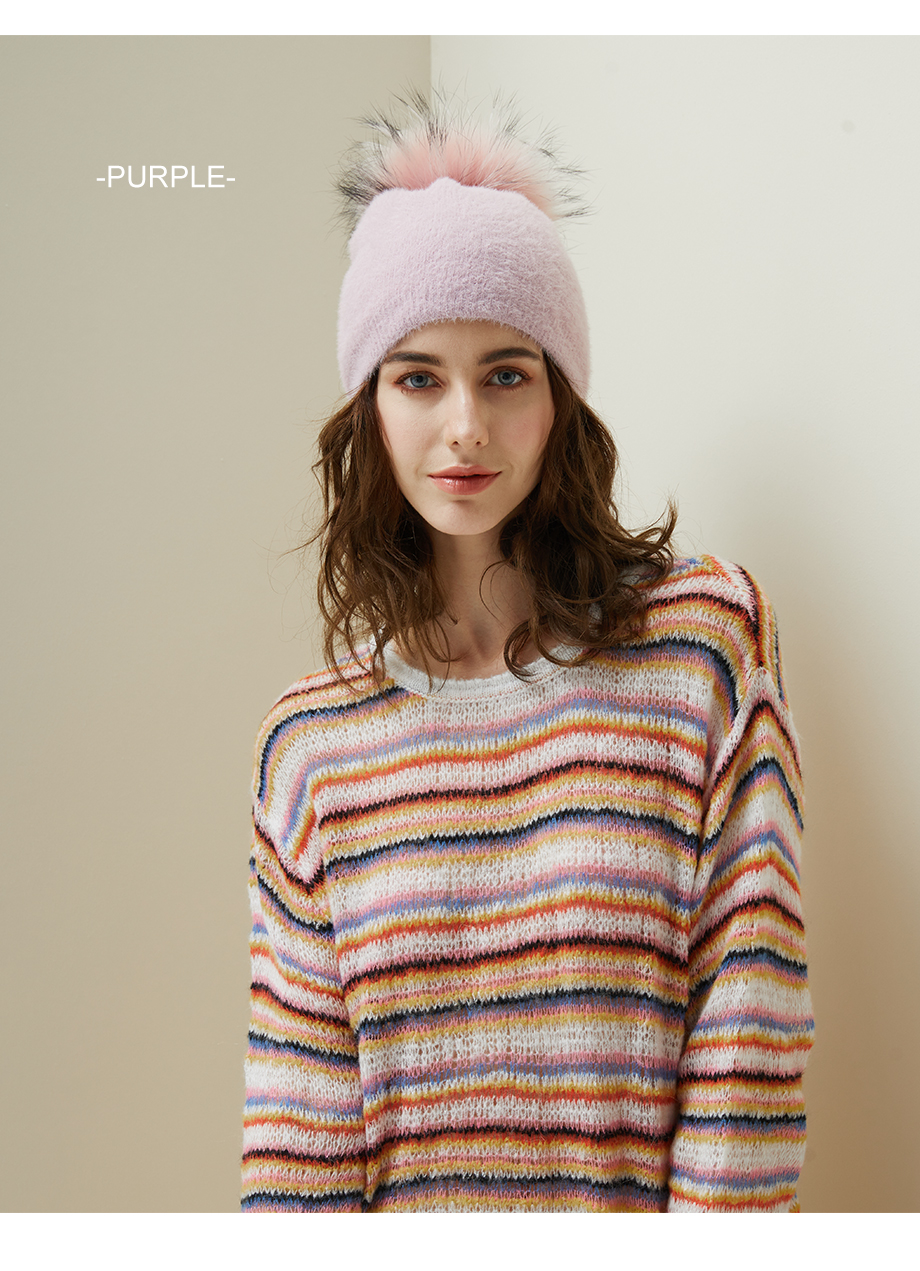 Hat Female Raccoon Hair Ball Beanies Winter Warm Wool Bonnet Pompom Beanies 2018 Fashion Russia Knitted Skullies Cap For Girls (17)