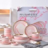 Four People Eat Pink Marble Ceramic Dinner Dish Rice Salad Noodles Bowl home dish soup bowl taste dish rice bowl Dinnerware Sets