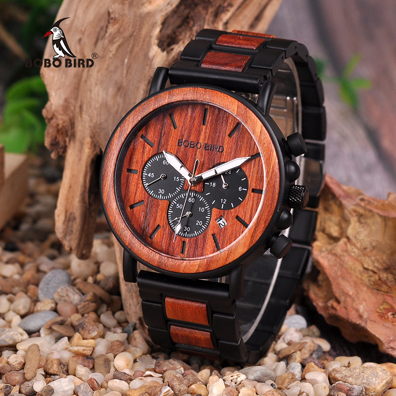 BOBO BIRD V--3 Luxury Unique Wood Dial Watches Men Clock Functional Stop Watch saat with Date Display