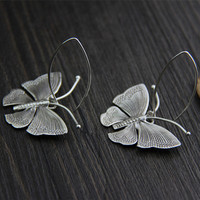 Solid 925 Sterling Silver Flying Butterfly Drop Earrings For Women Thai Silver hand made Ethnic Animal Jewelry Brinco de prata
