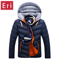 Winter Jacket Men Hat Detachable Warm Coat Cotton Padded Outwear Mens Coats Jackets Hooded Collar Slim