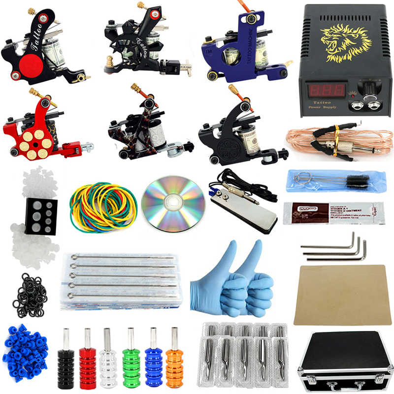 new Complete profession Tattoo kits 10 wrap coils 6 guns machine Tattoo needles set power supply disposable needle Foot pedal disposable tattoo tube with needle combo mixed 40 piece