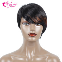 Brazilian Short Straight Wig 1B/Bug/30 Burgundy Bob Human Hair Wigs For Black Women Ombre Pre Plucked Baby Hair Style Me(China)