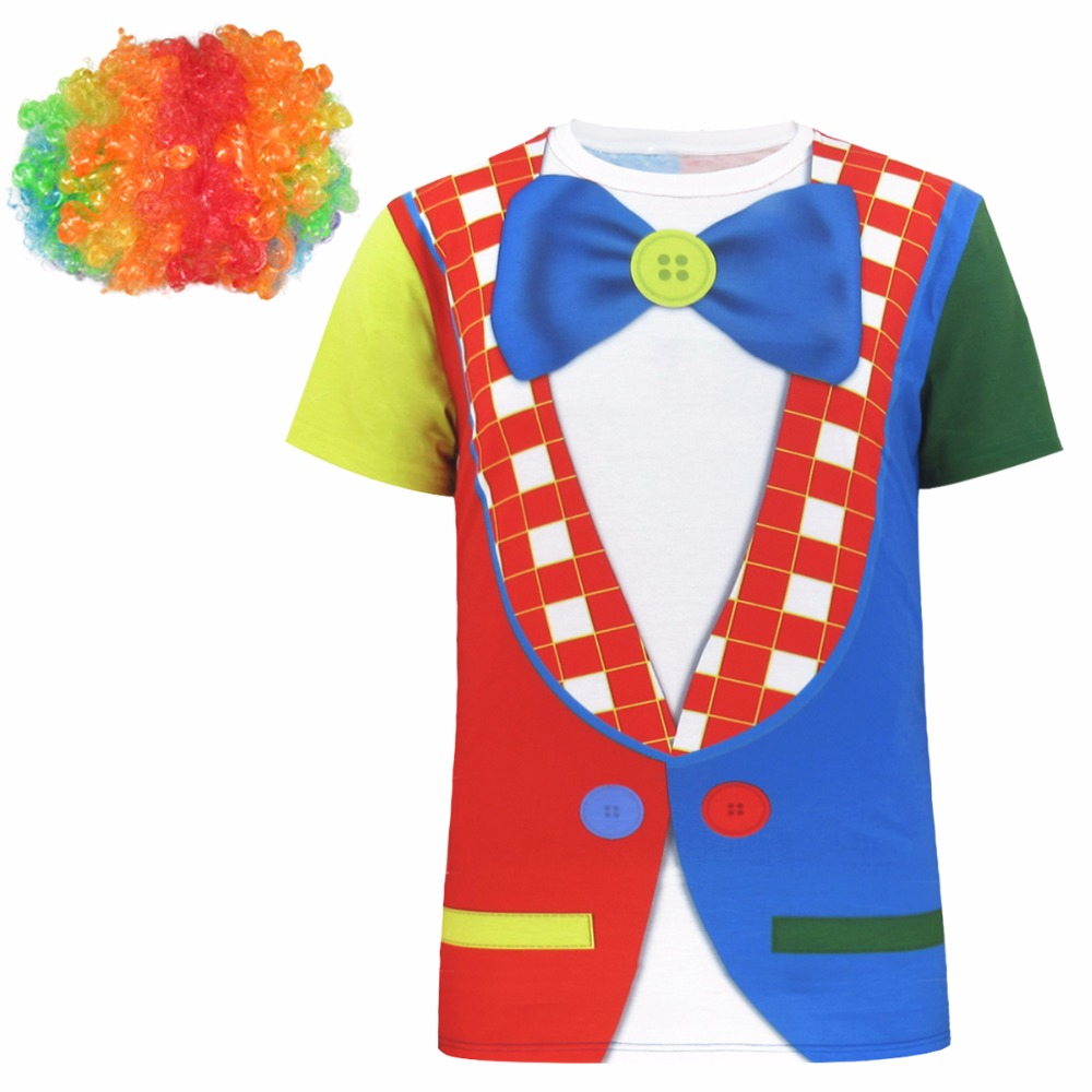 Tops & Tees T-shirts Men Circus Clown 3d T-shirt Halloween Cosplay Costume Top With Wig Complete In Specifications