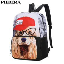PHEDERA New Middle School Student Backpack Dog Printing Canvas Rucksack Female Outdoor Shoulder Back Bags Girl Backpacks 2019
