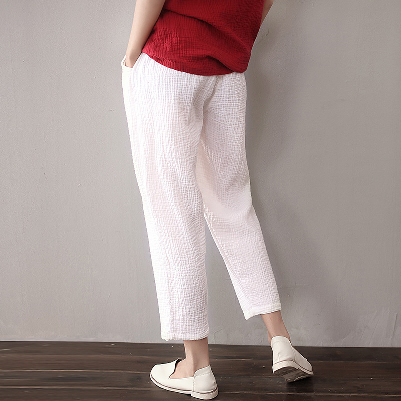62ff7d365a0 Detail Feedback Questions about Spring and Summer White Chino Cotton Linen  Trousers Women Elastic Waist Loose Ankle length Casual Palazzo Pants X32 on  ...