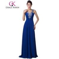 GK Free Shipping Deep V Neck Blue Slim Long Evening Dresses Formal Gown CL6197