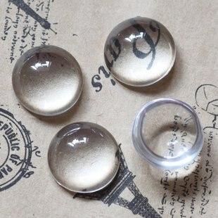 free ship 100pcs lot 16mm glass gemstone clear round cabochon bead