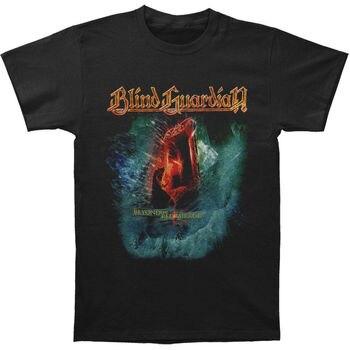 Camiseta de algodón informal de manga corta de Metal negro para hombre de Blind Guardian Beyond The Red Mirror