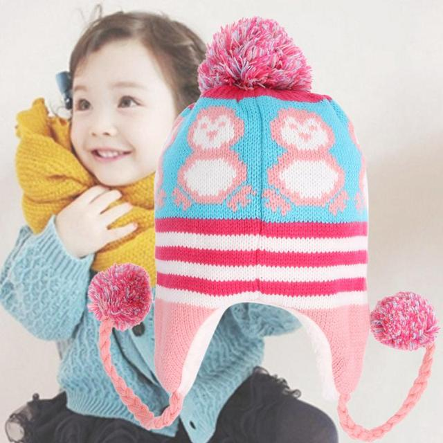 Baby Toddler Ear Protection Cap Kids Penguin Pattern Earflap Knitted