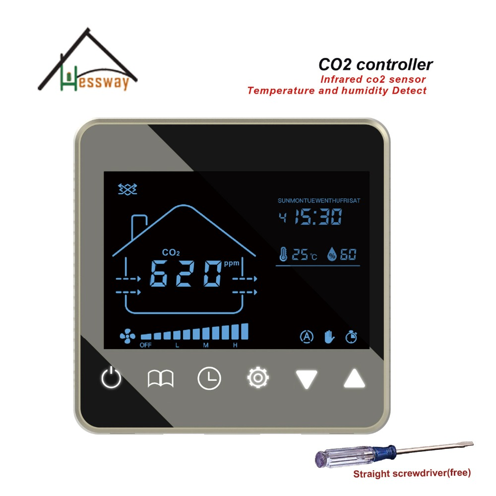 HESSWAY 3 speed Ventilation System NDIR co2 monitor detector for temperature humidity