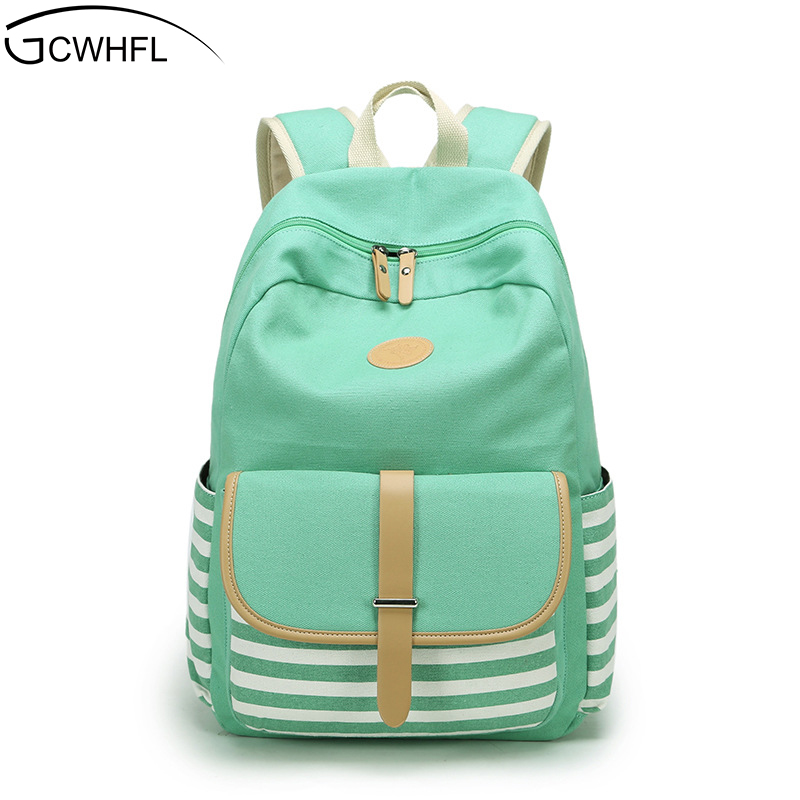 Women Backpacks For Teenage Teen Girls Canvas Backpack Female Striped Feminine Backpack School Bagpack Girl Mochila Feminina Bag for hyundai tucson 2015 2016 2017 2018 car inner inside rear back bumper trim stainless steel scuff sill trunk plate pedal 1pcs