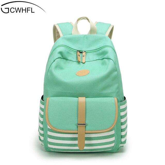 cbe053bd5bae Women Backpacks For Teenage Teen Girls Canvas Backpack Female Striped  Feminine Backpack School Bagpack Girl Mochila
