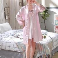 Bridesmaid Robes Silk Robe Sexy Lace Embroidery Fair Maiden Wind S Ms Robe Condole Emulation Silk Nightgown Wholesale