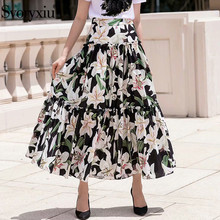 Svoryxiu Runway Summer lily Flower Printed Skirt Womens Elegant Ladies A-line Midi Skirts Casual Holiday