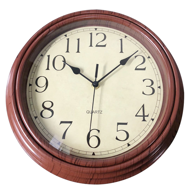 12 Inch Vintage Style Silent Wooden Decorative Round Wall Clocks Non ticking Wall Clock Quartz Clock Bedroom Home Office Decor