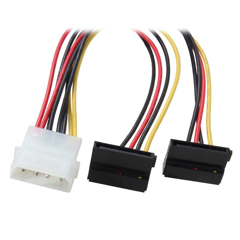 8 inch Molex 4-pin Male to Right Angle 2x SATA Power 15-pin 90-Degree Y-Splitter Converter Adapter Cable,ATX 12V/5V &HDD/SSD use high quality sata 15 pin male to y splitter with shrapnel 2 sata 15 pin female power adapter cable 3