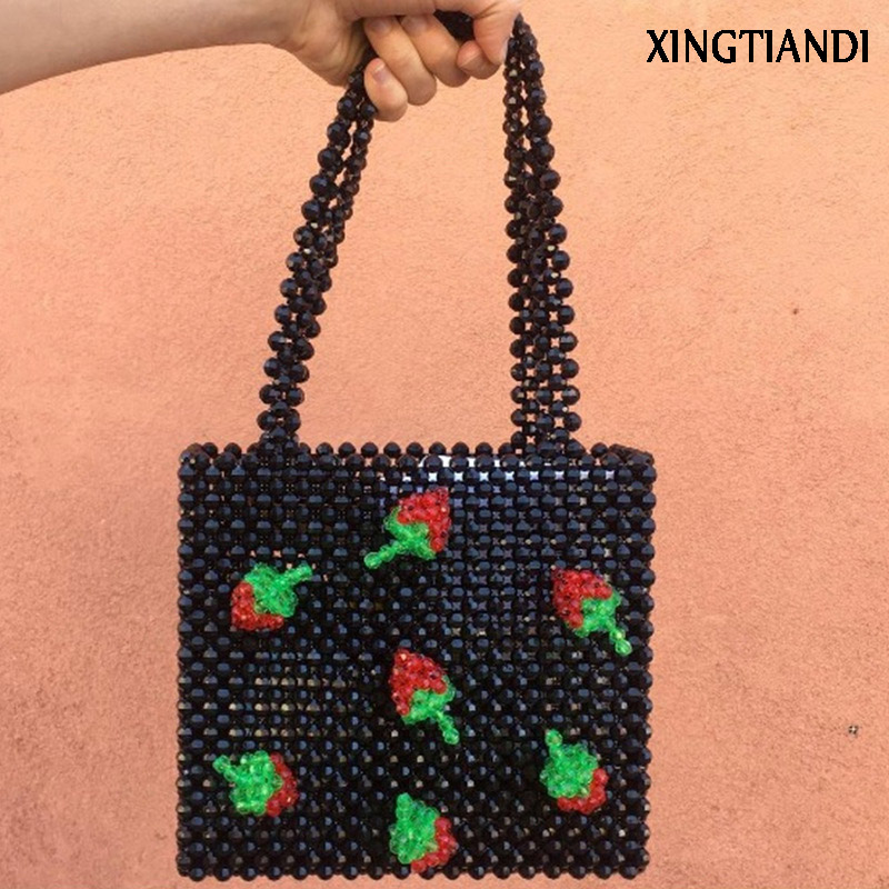 все цены на Women Handmade woven beaded bags cute cherry box tote Party handbag pearl lady bag dropshipping
