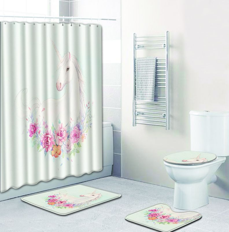 4pcs/set Cute Unicorn bathroom floor Anti-Slip shower curtain mats toilet seat cover pads rugs home hotel Tub decor Drop Ship