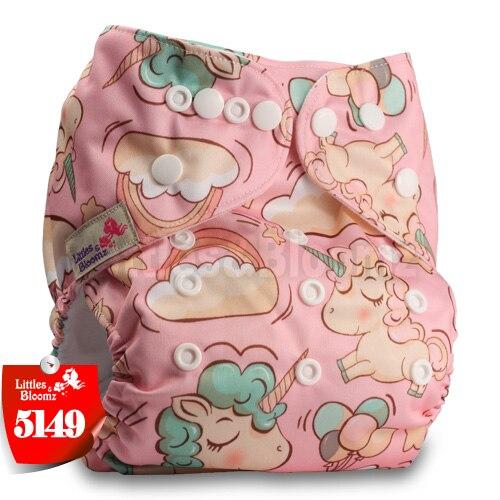 Littles& Bloomz детские моющиеся многоразовые подгузники из настоящей ткани с карманом для подгузников, чехлы для подгузников, костюмы для новорожденных и горшков, один размер, вставки для подгузников - Цвет: 5149