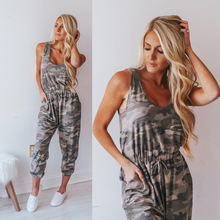Casual Fashion Loose Womens Camouflage Jumpsuit Strap Dungarees Harem Pants Overalls Sleeveless