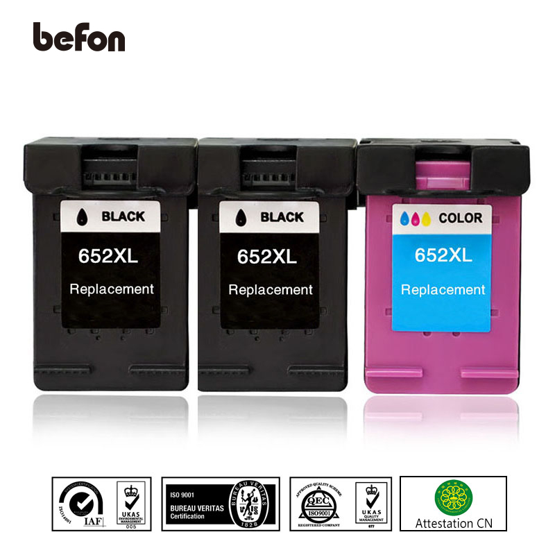 befon Refilled 652XL Ink Cartridge Replacement for HP 652 XL HP652 Ink Cartridge Deskjet 1115 1118