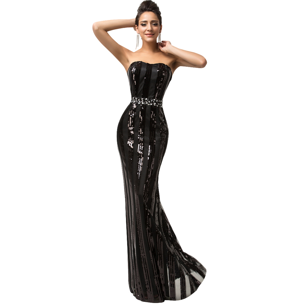 Sparkle Luxury Evening Gown Strapless Floor Length Long Black ...
