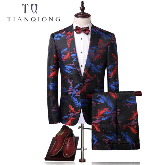 Tian Qiong Men Suit Latest Coat Pant Designs Wedding Suits 2018 Fish Print Mens