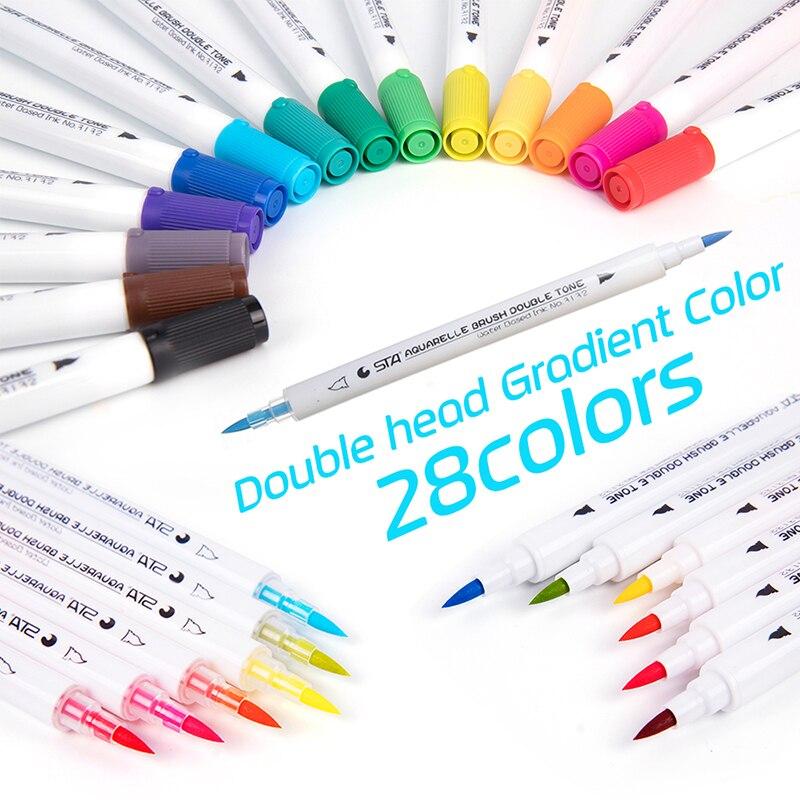 Premium 28 Farben 14 Stücke Gradienten Aquarellkunst Marker Set Wasserlösliche Doppel Farbe Pinsel Filzstift Für Design Manga Comic