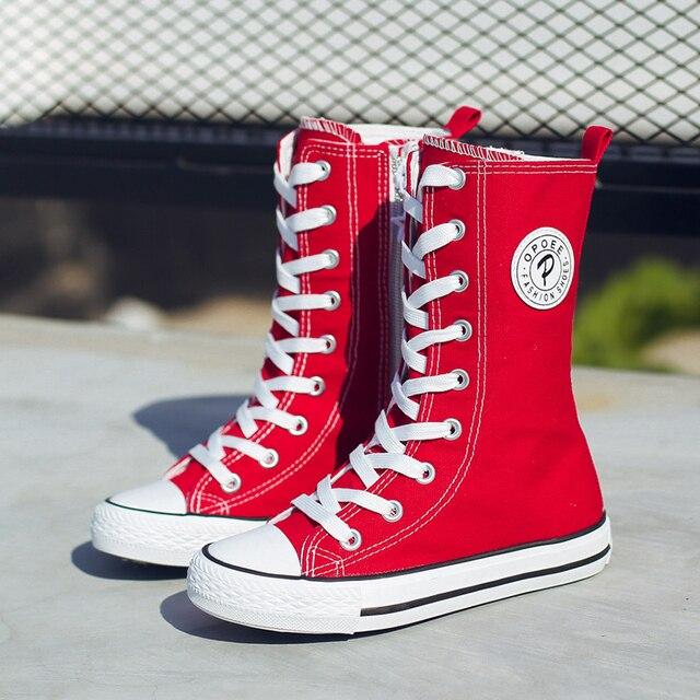 Bahar Yaz bebek kanvas ayakkabılar erkek kız denim ayakkabı çocuklar yüksek kesim ayakkabı çocuk orta buzağı çizmeler bağlama 4 14 yıl