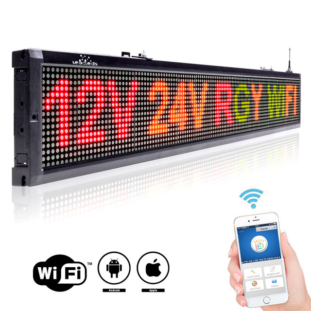 12 or 24v Voltage Car Bus Taxi Factory Message / DIY Indoor WIFI Remote Multicolor RGY Electronic Advertising LED Display Board