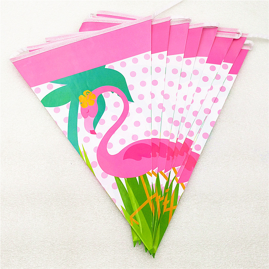 1set flamingo party supplies paper banner pennant bunting Flag Kids Birthday Wedding party favors event baby shower decoration