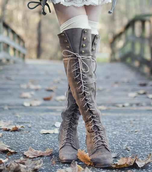 fall winter boots 5CM chunky heel side zipper lace up knee high boots black/red/grey/brown suede long boots for woman size 42 casual fall style black long sleeve lace up sweatshirt