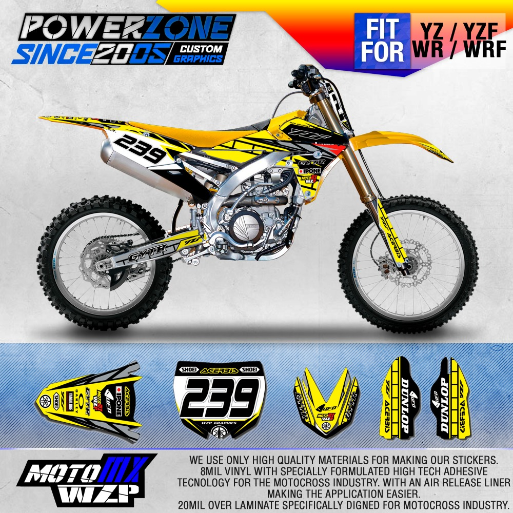 Bike sticker design images - Custom Team Graphics Backgrounds Decals 3m Sticker For Yz250f Yz450f Yzf250 450 Yellow Version Motorcylce Dirt
