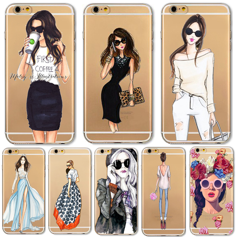Napeyin Phone Case For Apple iPhone 7 4.7inch Sexy Dress Girl Transparent Soft Silicon Cover Bag Fundas for iphone7