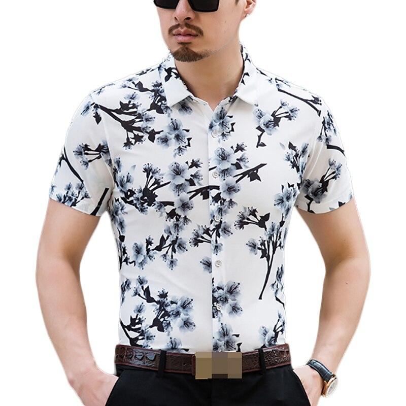 6035e826b5f Hawaiian Shirt Men Summer 2018 Fashion Floral Shirts Slim Fit Plus Size  Business Printed Dress Short Sleeve Male Shirts For Men