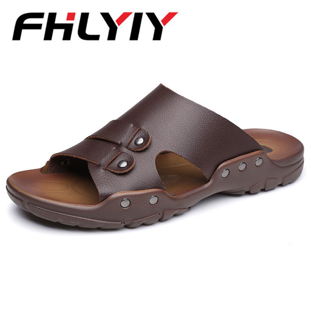 7ad474c92fc7 2018 New Fashion Summer Shoes Men S Slippers PU Leather Beach Sandals Men  Casual Shoes Flip Flops Slipper Zapatos Hombre