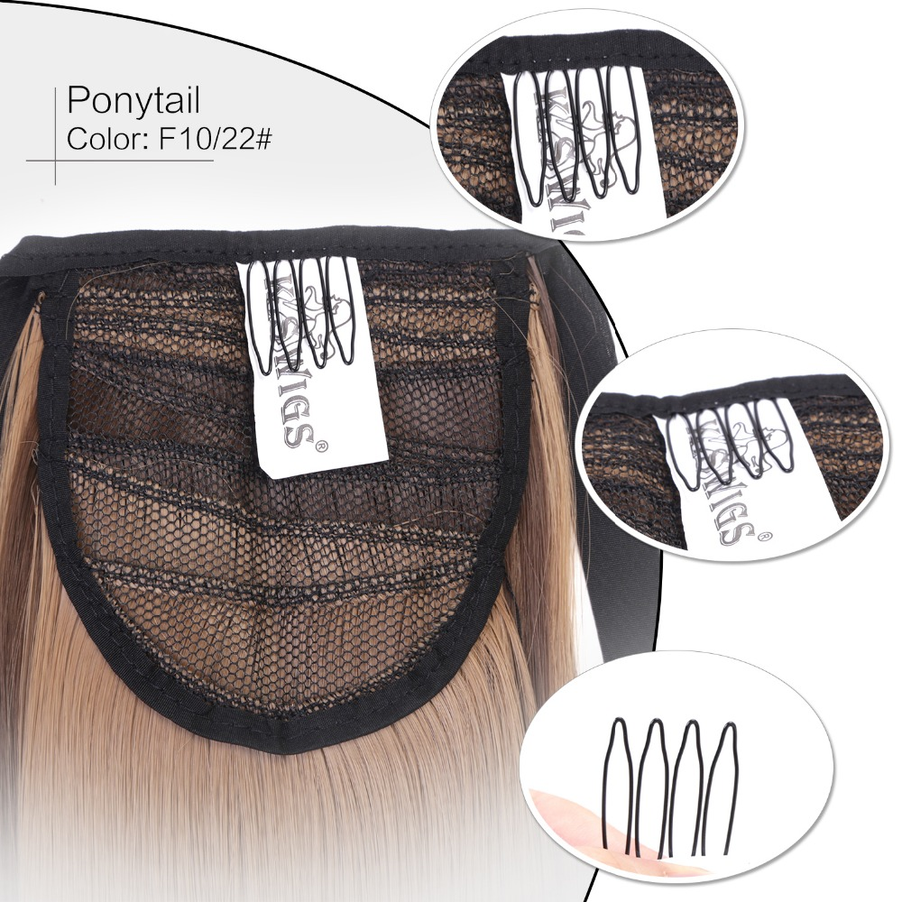 Neitsi Straight Long Clip In Hair Tail False Hair Ponytail Hairpiece With Hairpins Synthetic HairF10-22#