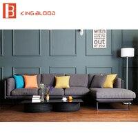 Royal Style Grey Fabric Modern Corner Sofa Set with Metal Frame for Living Room